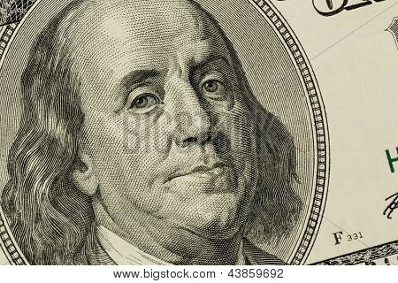 hundred dollar bill with a portrait of benjamin franklin