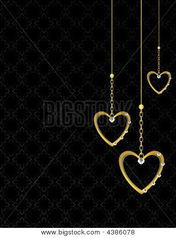Gold Heart Patterned