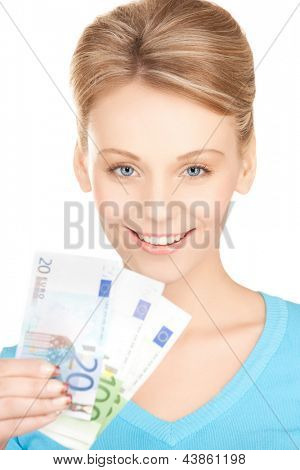 picture of young businesswoman with euro cash money