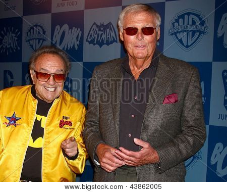LOS ANGELES - MAR 21:  George Barris, Adam West arrive at the Batman Product Line Launch at the Meltdown Comics on March 21, 2013 in Los Angeles, CA