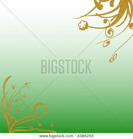 Gold Green Floral Background