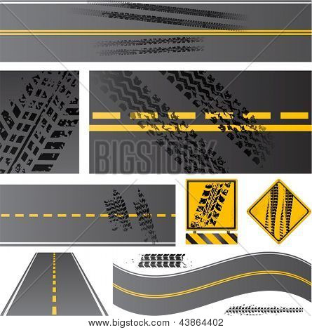 Asphalt road vector with tire tracks