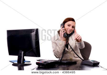 Successful Business Women On The Phones