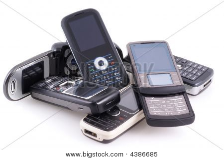 Pile Of Mobile Phones.