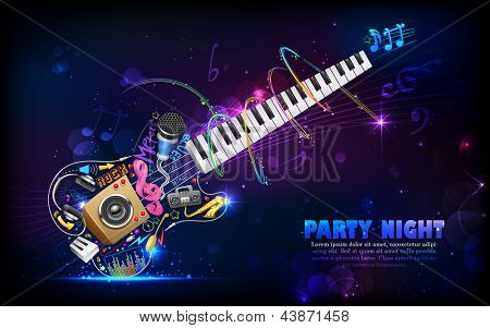 illustration of music background with guitar