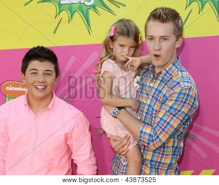 LOS ANGELES - MAR 23:  Bradley Steven Perry, Mia Talerico, Jason Dolley arrive at Nickelodeon's 26th Annual Kids' Choice Awards at the USC Galen Center on March 23, 2013 in Los Angeles, CA