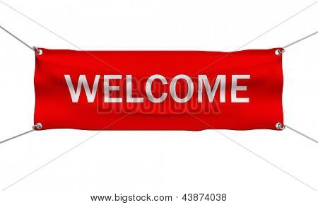 Welcome greeting message banner 3d illustration