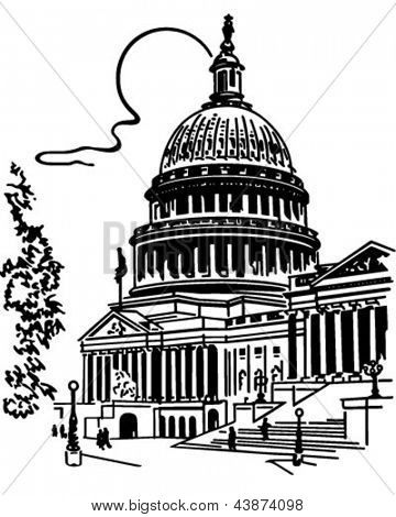 US Capitol Building - Retro Clip Art Illustration
