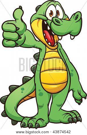 Crocodilo de desenhos animados. Vetor clip art ilustração com gradientes simples. Tudo em uma única camada.
