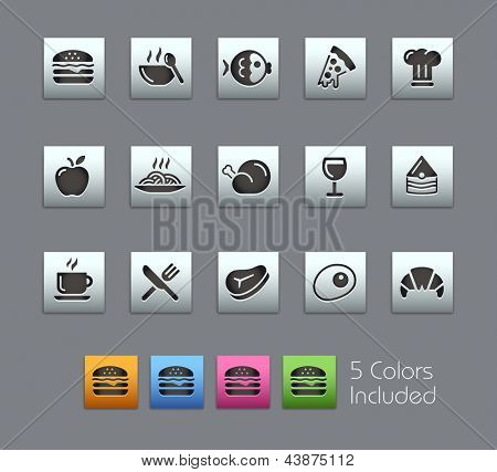 Food Icons - Set 1 of 2 // Satinbox Series -------It includes 5 color versions for each icon in different layers ---------