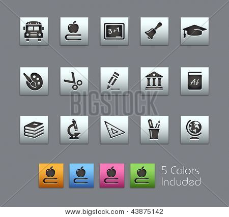 School & Education Icons // Satinbox Series -------It includes 5 color versions for each icon in different layers ---------
