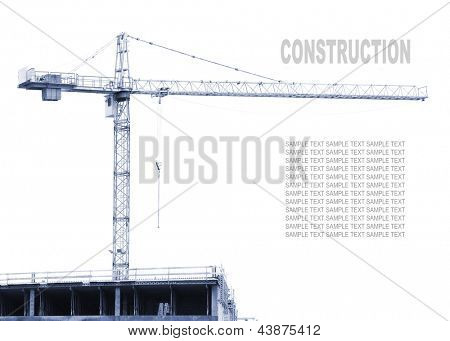 Construction crane on white. Monochrome industrial background. Picture with space for your text.