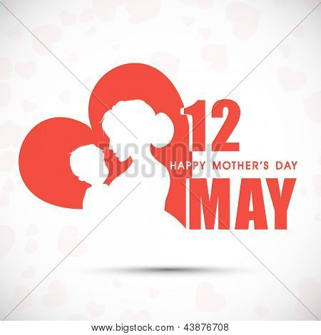 Silhouette of a mother and her child with text 12th May for Happy Mothers Day celebration.