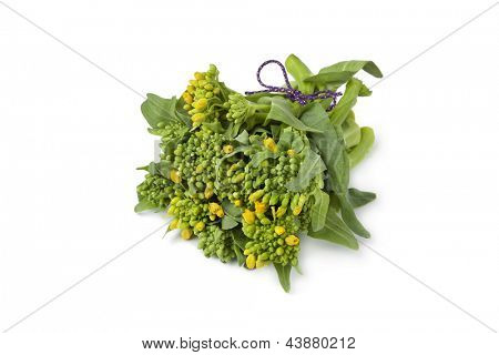 Bouquet fresh broccolini on white background