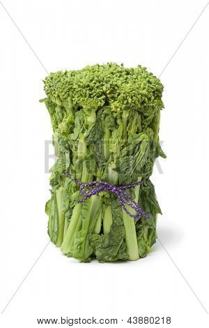 Fresh Japanese baby broccolini on white background