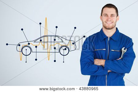 Portrait of a young mechanic next to background with car diagram and heart rate line