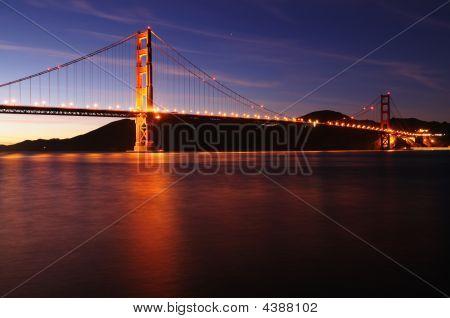 Golden Gate Bridge Shot From Pier At Dusk