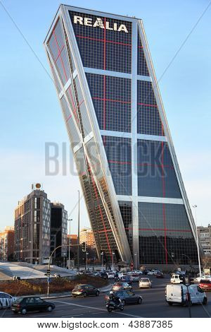 MADRID - MARCH 8: Building of Gate to Europe complex on March 8, 2012 in Madrid, Spain. 25-storey building was built in 1996.