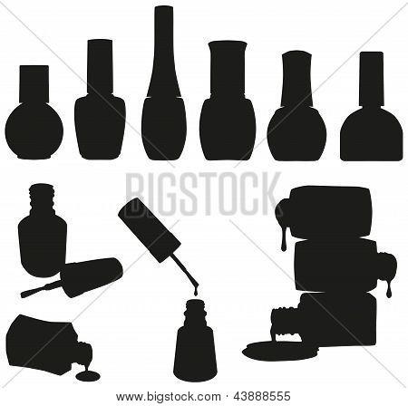 Conjunto de frascos de esmaltes de vetor