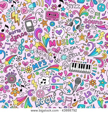 Music Rock and Roll Star Seamless Pattern Groovy Notebook Doodles- Vector Illustration Hand-Drawn Design Elements