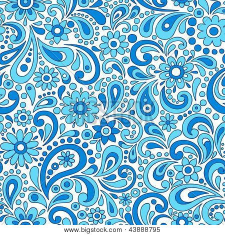 Paisley Henna Mehndi Elegant Flower and Swirl Doodles Seamless Pattern- Hand-Drawn Illustration