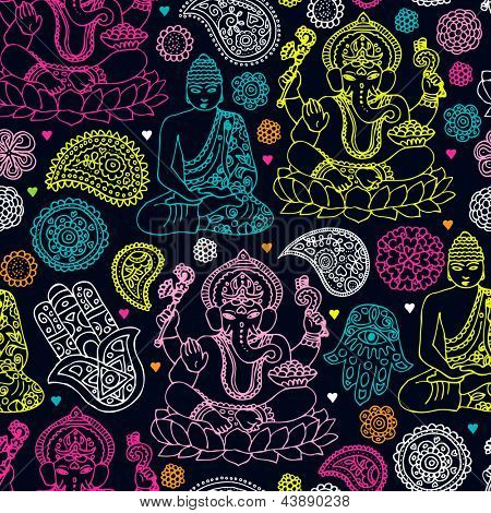 Seamless india travel icon hand drawn illustration background pattern in vector
