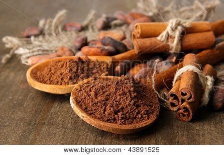 Cocoa powder in spoons, cocoa beans and spices on wooden background