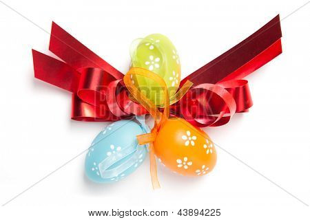 color easter eggs isolated on white. top view