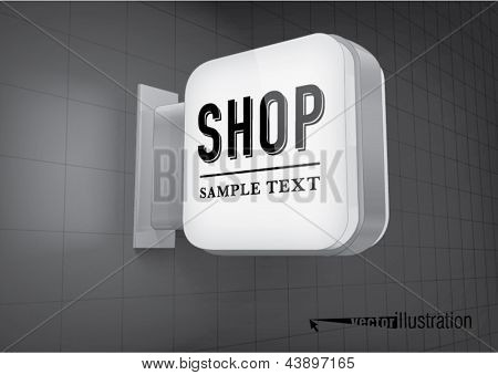 Illuminated shop signs light box, square with rounded corners