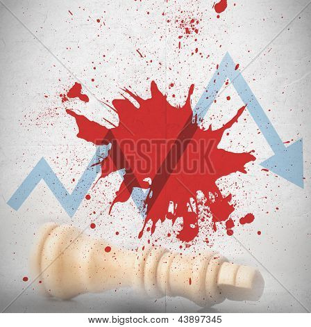Blood spatter with blue loss arrow and fallen white chess piece