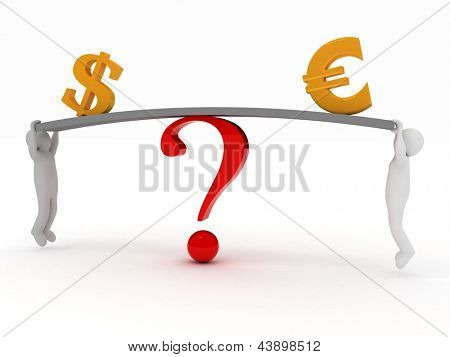3d men hang on scale board with icons euro and the dollar.