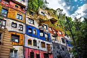 image of social housing  - The view of Hundertwasser house in Vienna Austria - JPG