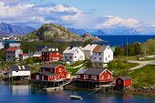 stock photo of lofoten  - Typical norwegian fishing village on Lofoten islands in Norway - JPG