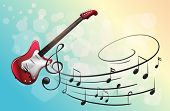 stock photo of g-string  - Illustration of a red electric guitar with musical notes - JPG