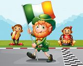 picture of ape-man  - Illustration of a man walking at the road holding the flag of Ireland - JPG