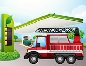 Illustration of the utility truck at the gasoline station