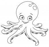 stock photo of octopus  - Outlined octopus - JPG