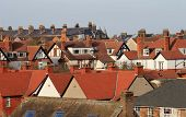 Red roof tops on modern housing estate, Scarborough, England.