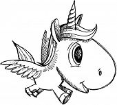 stock photo of pegasus  - Sketch Doodle Unicorn Pegasus Alicorn Art - JPG