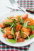 foto of snow peas  - Snow peas and tomato salad with shrimps (prawns) vertical