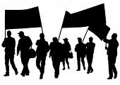 image of anarchists  - Vector drawing crowds with banners and flags - JPG
