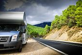 picture of recreational vehicle  - Motor Home On The Road - JPG