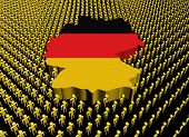 Germany map flag surrounded by many abstract people illustration