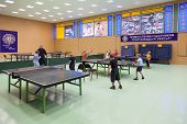 MOSCOW, RUSSIA OCT 23: Childrens competition ping pong in Russian State University of Physical Cultu