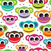 picture of ape  - Seamless retro monkey ape kids pattern wallpaper background in vector - JPG