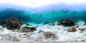 Spherical, 360 degrees panorama of tropical reef with a rocks on sandy bottom, Racha Yai island, Phu