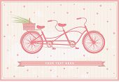 pic of tandem bicycle  - vintage card with pink bicycle - JPG