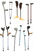 stock photo of prosthetics  - crutches and prosthetic devices under the light background - JPG