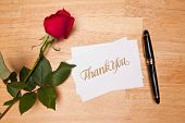 image of red rose flower  - Thank You Card Pen and Red Rose on a Wood Background - JPG