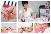 stock photo of pedicure  - Collage of nail salon situations with manicures pedicures and reception desk - JPG